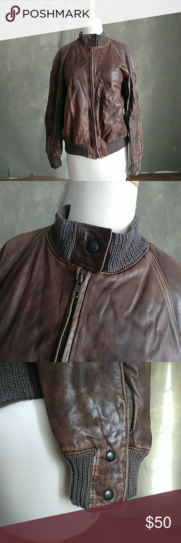 Vintage Italian Leather jacket Brown Vintage Italian Leather jacket.  Leather is in good condition but the cuffs/collar have significant wear. There are also two small (pin sized) holes in the lining. Vintage Jackets & Coats