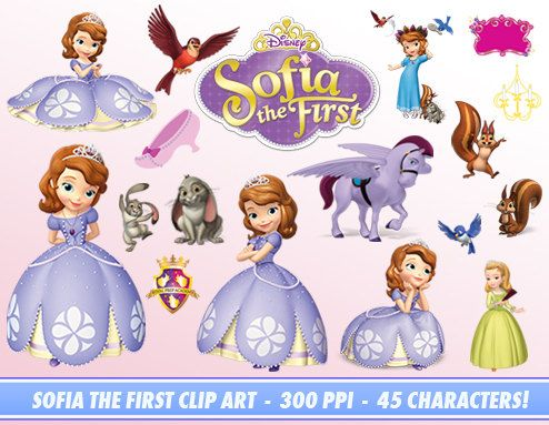 Sofia The First Clip Art Set - 45 Characters - 300 ppi - High Resoultion pngs - Disney Sofia The First - Invitations, Decorations, Scrapbook
