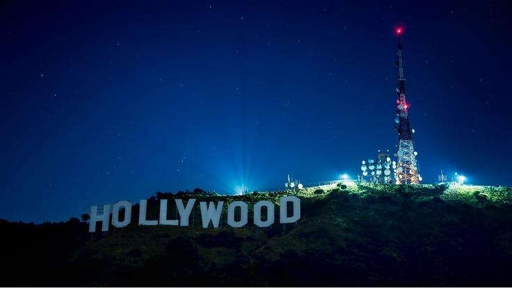 Hollywood Sign at night.
