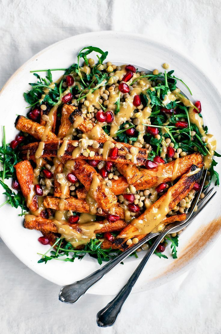 Spicy Roasted Carrots with Tahini Lentil Salad #Saladmeal #carrotrecipe