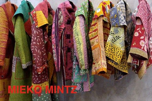 color inspiration: jackets from designer, Mieko Mintz. All are made of Kantha quilts consisting of 5 layers of cotton vintage saris with hand stitching throughout. The fabric is from West Bengal and Rajasthan