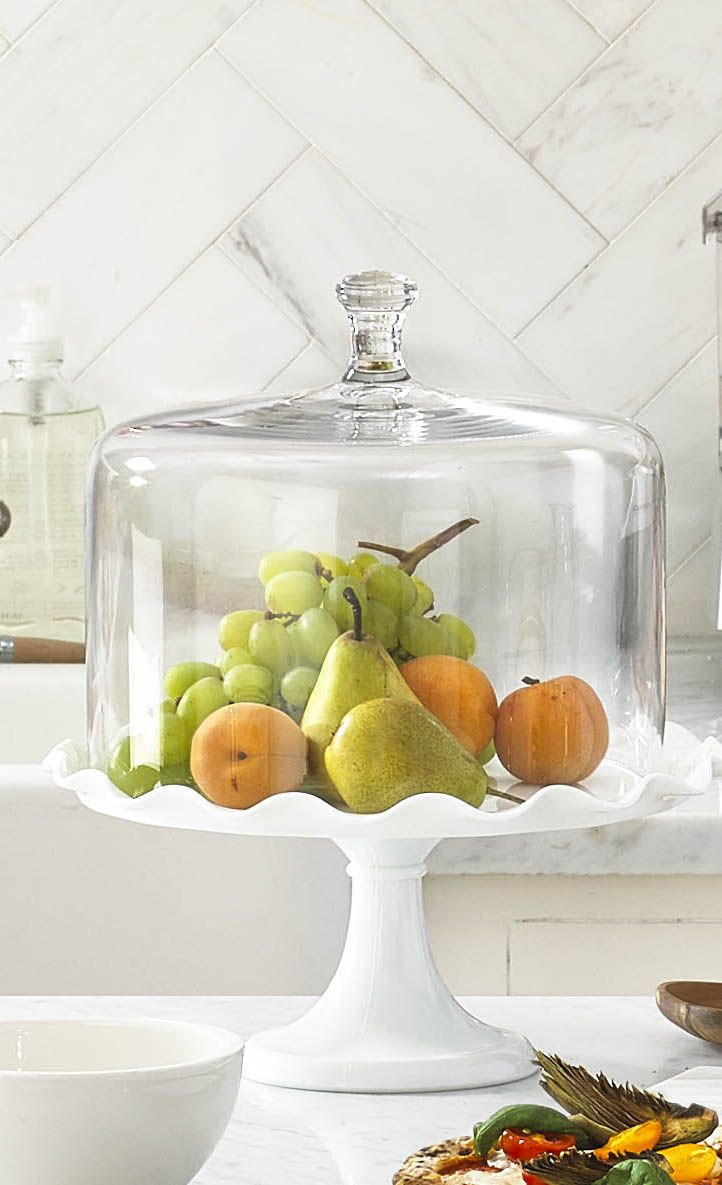 Keep healthy eating top of mind (and add a gorgeous display to your kitchen décor) by filling a cake stand with fruit! Shop this stand and dome from the Martha Stewart Collection only at @macys.