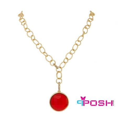 """Brooke - Necklace - Fashion necklace - Gold tone chain - 2 links encrusted with clear stones - Large red-orange stone pendant - Lobster clasp closure with 2.76"""" extender - Dimension: 18.11"""" length, Pendant: 1.38"""" diameter  POSH by FERI - Passion for Fashion - Luxury fashion jewelry for the designer in you. #networking #direct #sales #fashion #designer  #brand #onlineshopping #workingfromhome #necklace #accesories"""