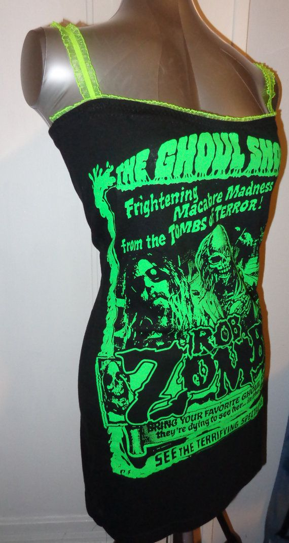 Handmade Rob Zombie GHOUL SHOW tunic shirt mini dress...with neon green print and ruffled elastic lace at bust at straps for a form fitting sexy fit. This awesome heavy metal horror style shirt is unique and one of kind, you wont find this anywhere else. Available in many sizes. $29.99