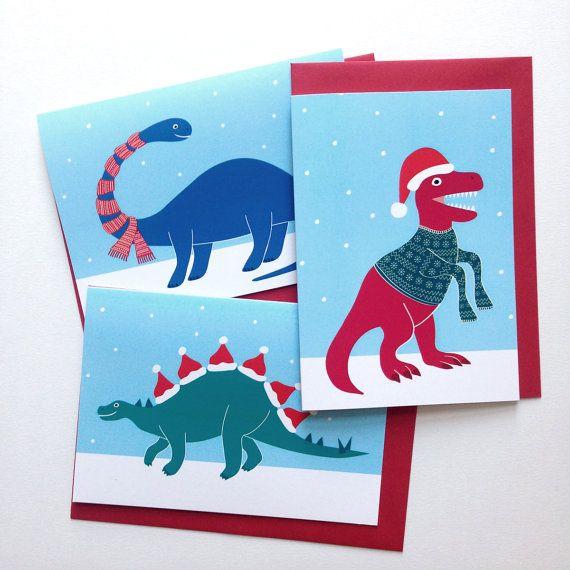 6 Dinosaur Christmas Cards Dinosaur Christmas by helloDODOshop
