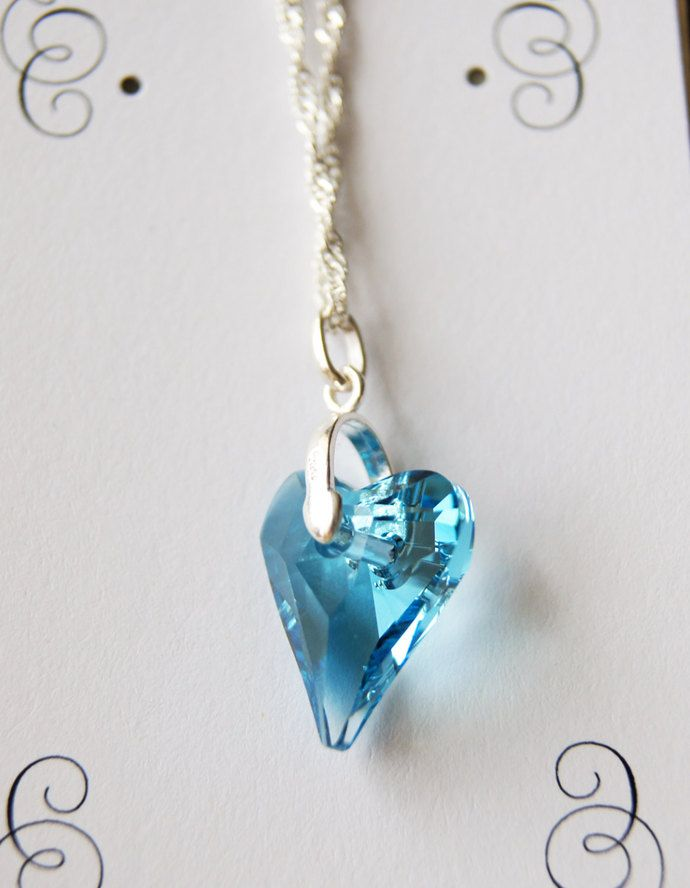 Light Blue Swarovski Floating Heart Pendant with Sterling Silver Chain. Heart Crystal Pendant Blue by JewelleryInspired4U, $21.25 USD