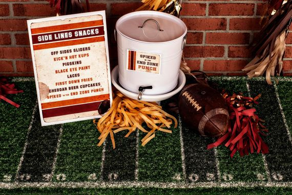 This listing is for ONE LARGE Vintage Football Party Label/Tent Card, printable file.  Label comes as tent card but can be cut to be used flat as