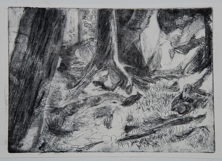 """Trees at the other side of the bay""  Intaglio ( 12x15"")"