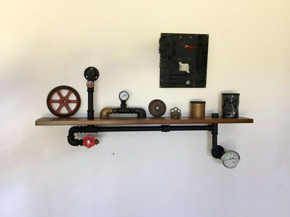 Mensola scaffale stile industriale vintage tubi idraulici for Disegni per la casa in stile prateria