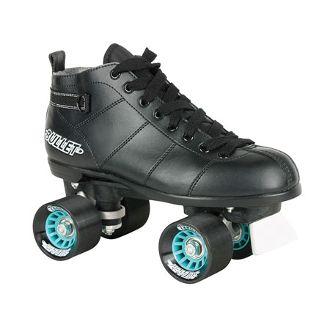 Chicago Bullet  Chicago's entry level quad speed skate.  Black plastic plates, black vinyl boot, and a fixed toe stop.   Available Sizes: men's 1-12 http://www.shop.rollwithitct.com/Chicago-Bullet-B-100-Mens-Skates-Black-SESCB100M.htm