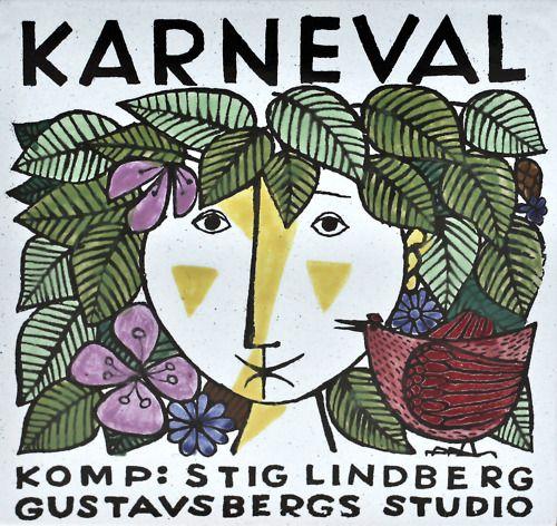 "Stig Lindberg, ""Karneval"" plaque for Gustavsberg"