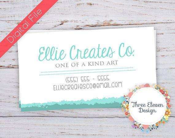 Teal Watercolor Printable Business Card