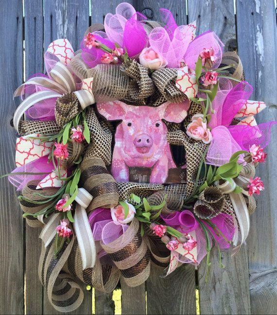 Reserved Farm Wreath Pig Wreath Farm Decor Front Door
