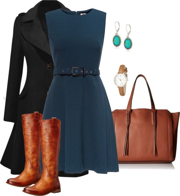 Autumn brown and blue by blogginguna featuring stainless steel watches    Blue dress amazon.com Wool pea coat €50–amazon.com Frye boots €255–amazon.com Ivanka Trum…