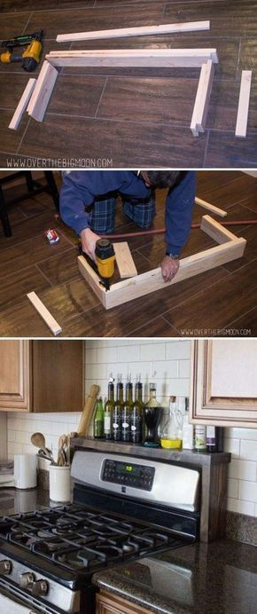 DIY Oil and Vinegar Shelf So simple, yet so handy!