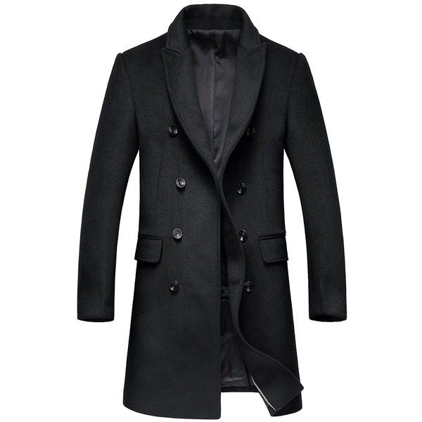 Men's Premium Wool Blend Double Breasted Long Pea Coat ($80) ❤ liked on Polyvore featuring men's fashion, men's clothing, men's outerwear, men's coats, mens peacoat, mens pea coat jacket, mens pea coat, mens long coat and mens double breasted coat