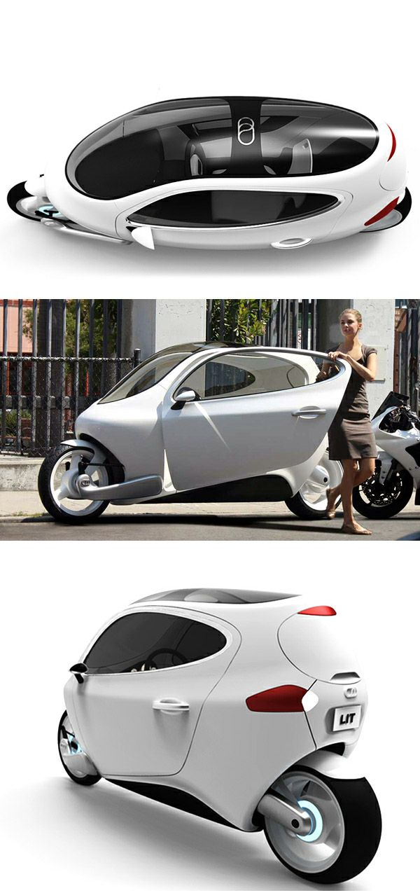 "Motorcycle and car hybridation - ""C-1 (Rolling Smartphone)"" electric vehicle concept by Lit Motors"