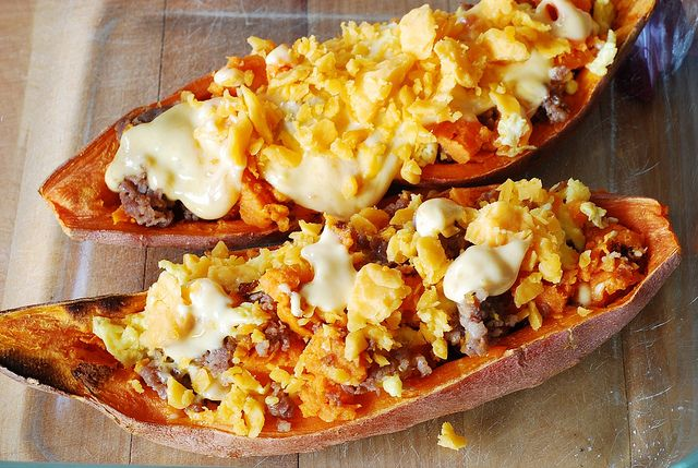 Stuffed sweet potatoes for breakfast - with sausage and eggs