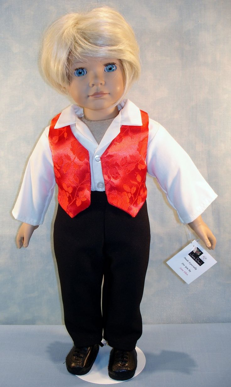 18 Inch Doll Clothes - Boys Red Vest, Ivory Shirt, Black Pants handmade by Jane Ellen by JaneEllen2 on Etsy