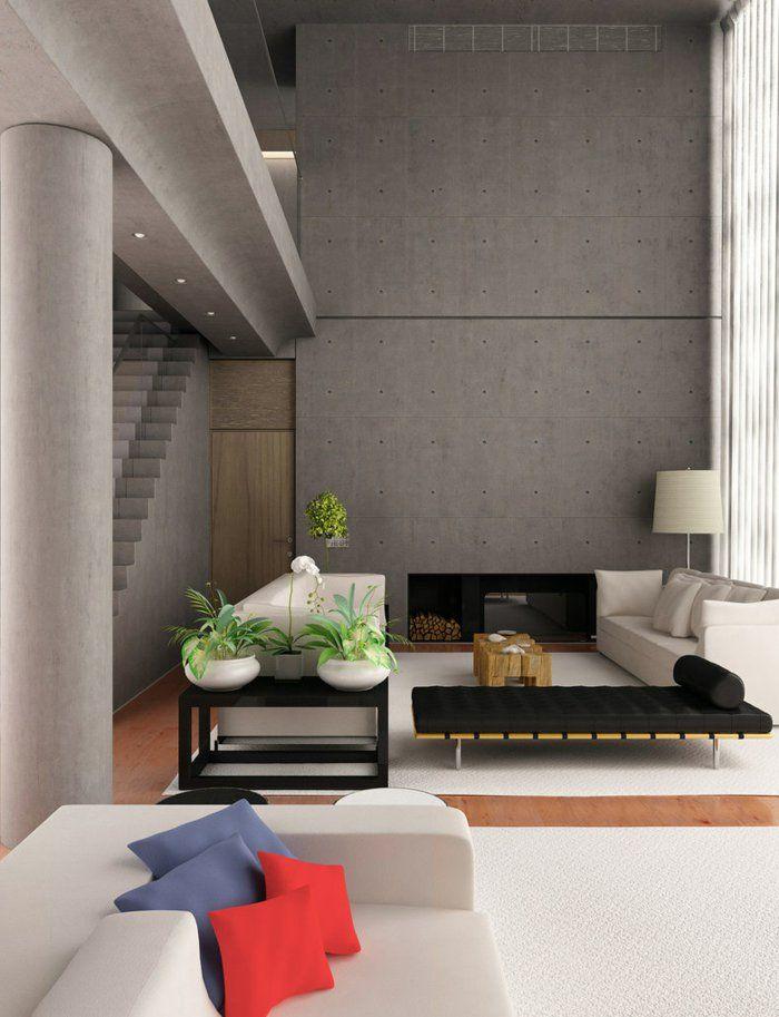 Wohnzimmer Einrichten Beispiele Farbige Akzente Bereiche Absondern Pflanzen Treppen