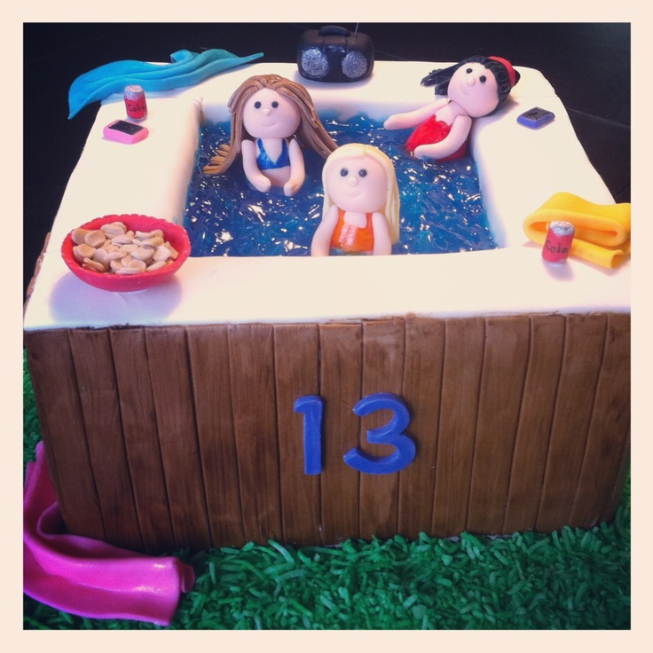 Hot tub party cake ♥ Loved and pinned by www.hottubequipment.ca