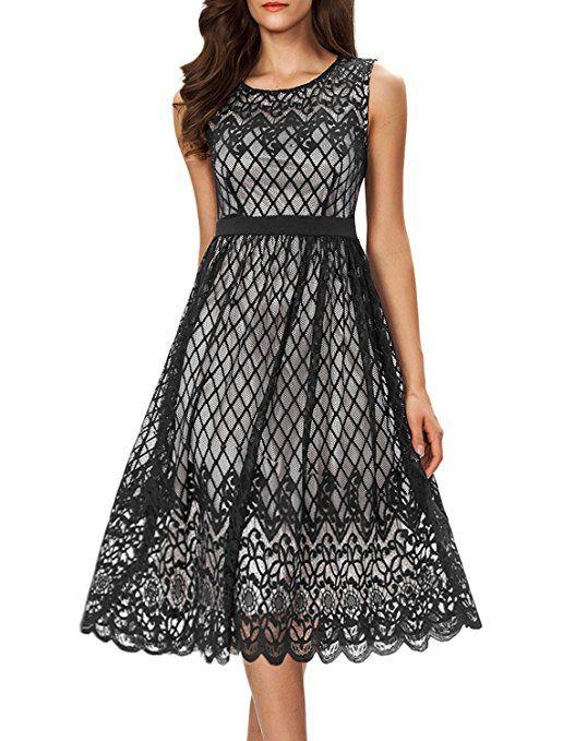 9e8c39e69311 Noctflos Women's A Line Lace Cocktail Wedding Party Midi Swing Tea Dress  Black S