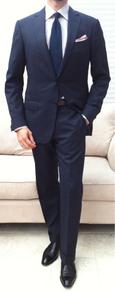 I'm thinking of doing a Navy suit + Navy tie + light blue or white shirt + coral boutineer. Brown shoes and belt? Pocket square?