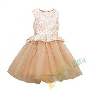 Märchenhaftes ärmelloses Kleid für Mädchen in hautfarbener Qualität … -…