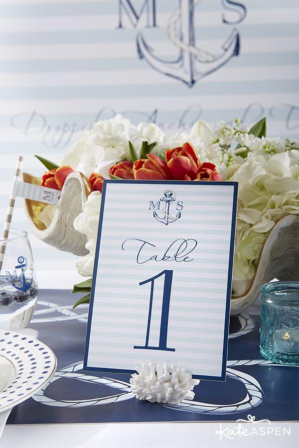 無料印刷テーブル番号|航海の結婚式のアイデア|航海テーブル番号|ケイトアスペン| www.kateaspen.com