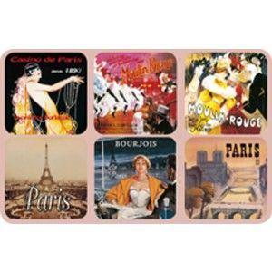 Paris Coasters, set of 6, images from assorted French vintage posters. Made of cork.