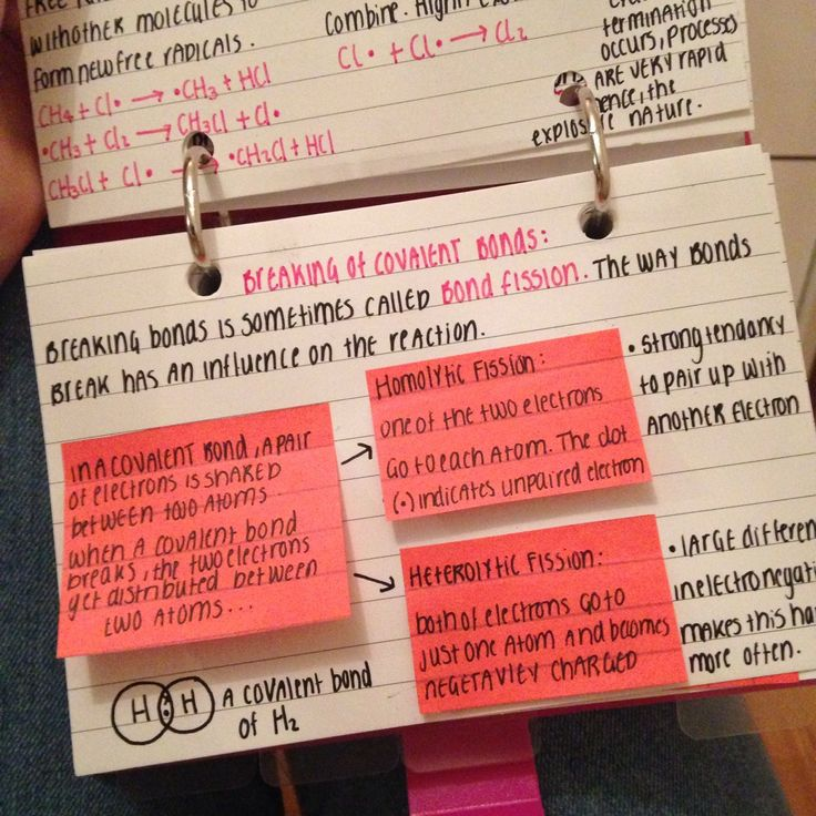 how to use index cards to study chemistry - Google Search