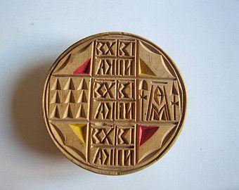 vintage hand carved wooden Orthodox bread seal, stamp