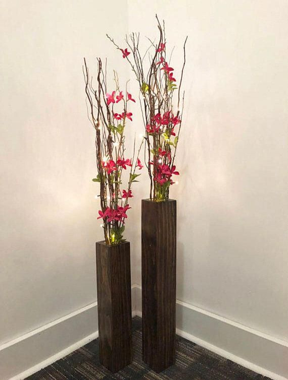 Two Piece Vase Set Set Of 2 Wood Vases Home Decor Floor Vase Wedding Decor Wood Vases For Floral Stems Modern Wood Vase Tall Vase Decor Floor Vase Decor