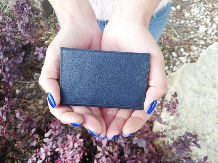 Credit Card Holder, Leather Card Holder, Card Holder, Dark Blue Cards Wallet, Small Wallet Gift, Christmas Gift, Blue Leather Accessories