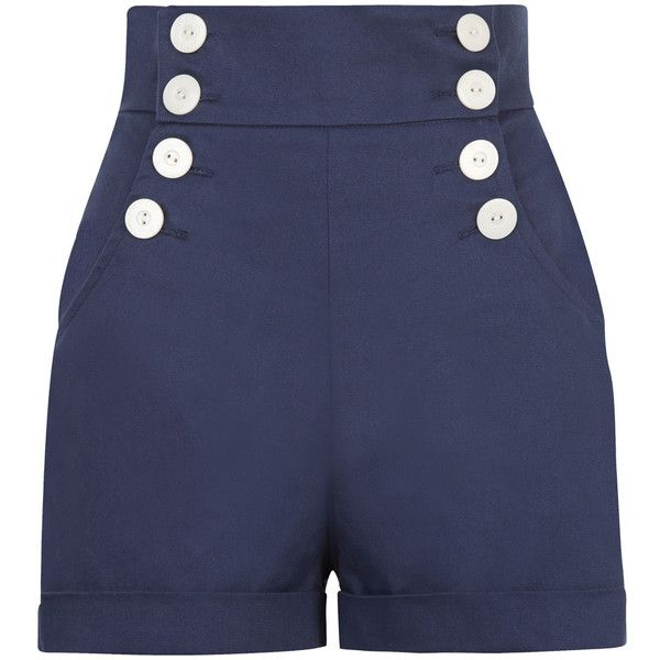 The Sailor Shorts Navy ($29) ❤ liked on Polyvore featuring shorts, short, navy blue shorts, highwaisted shorts, high waisted pin up shorts, short shorts and high-waisted shorts