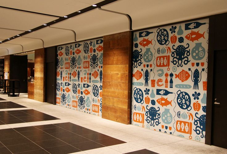 I Made A Seafood Themed Pattern For The Interior Of A New Spanish Restaurant In Tokyo It S Always Fun To See My Seafood Wall Art Art Restaurant Wall Graphics