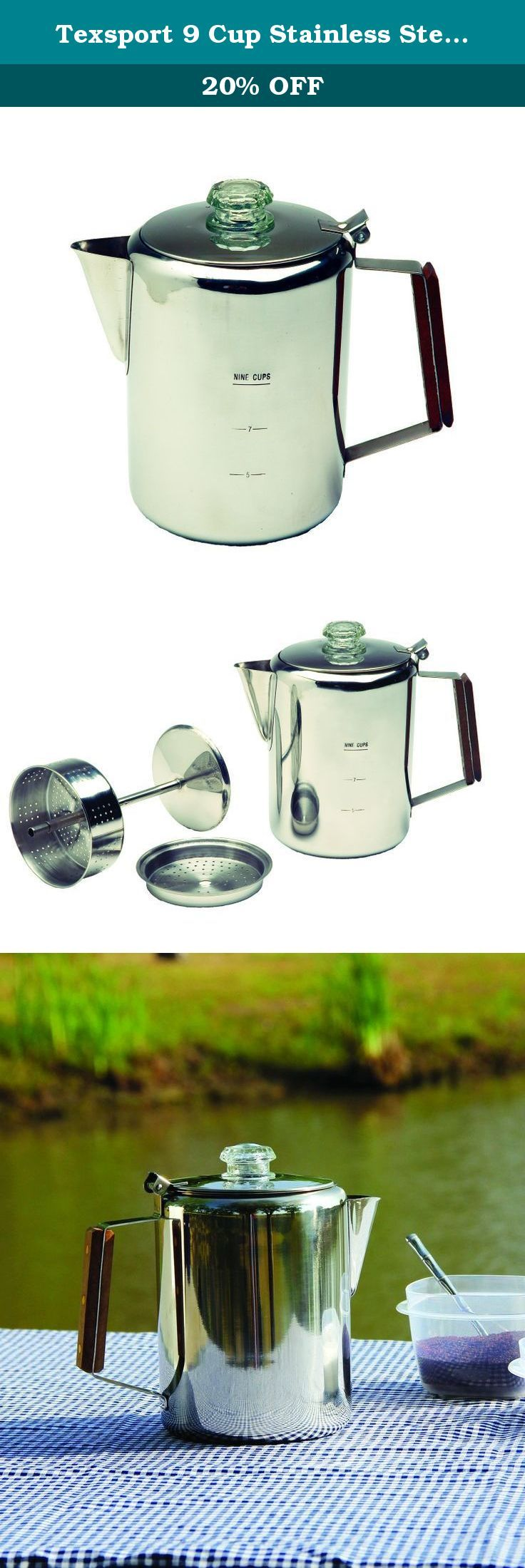 Texsport 9 Cup Stainless Steel Percolator Coffee Maker for Outdoor Camping. Texsport Percolater, Stainless Steel, 9 Cup 13215TEX.