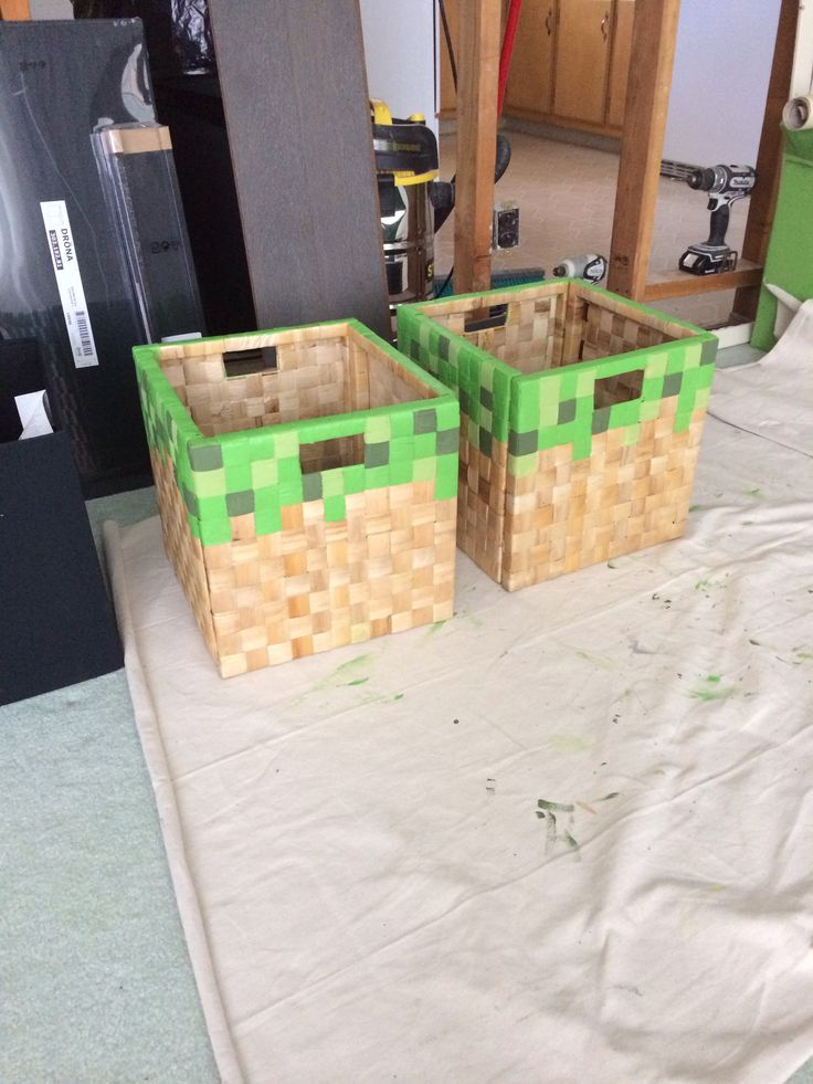 Mine craft grass IKEA Hack..  Perfect for little boys room..