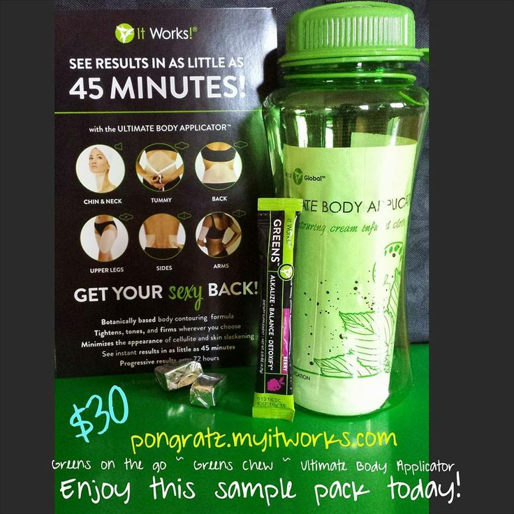 This is a GREAT sampler pack for someone wanting to sample the It Works Products! $30 includes the bottle, greens on the go, green chew and a wrap!!! Cjohnson2622.myitworks.com
