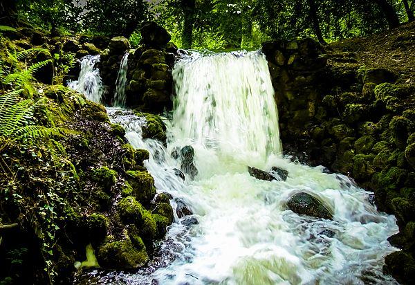 Birr Castle Waterfall in Birr (Biorra), County Offaly (Contae Uíbh Fhailí), Ireland. Birr Castle Waterfall is next to Camcor River.