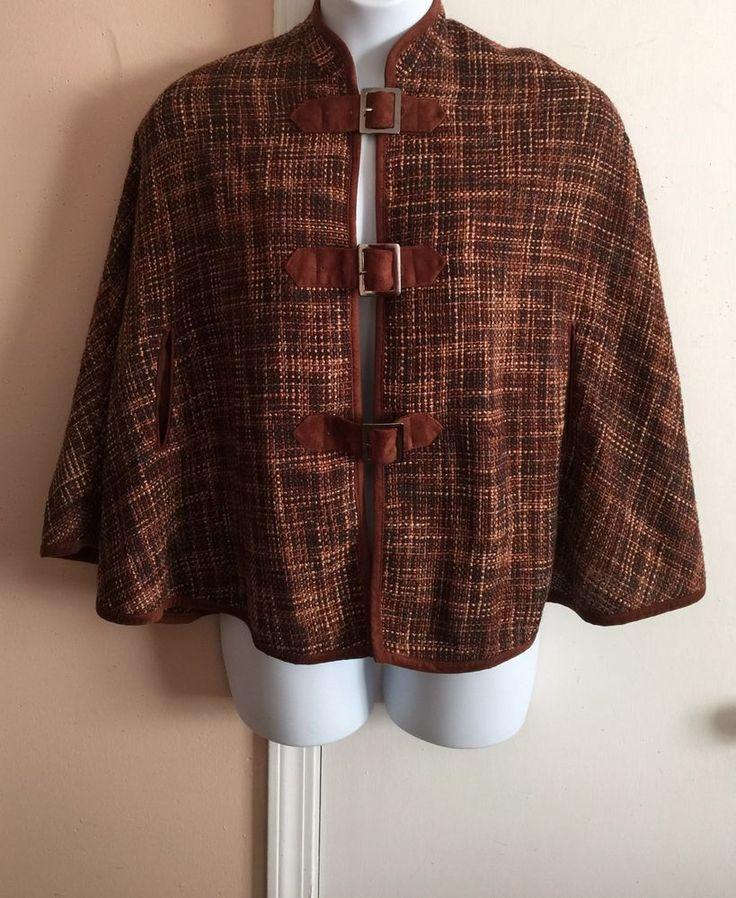 ANNE CARSON Brown Silk Poly Plaid Tweed Cape Petite P/PS #AnneCarson #CapeCapelet