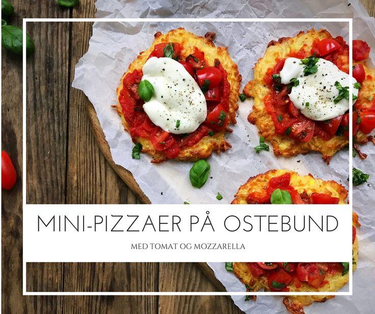 Mini-pizza på ostebund med tomat og mozzarella. Naturligt glutenfri og low carb/LCHF - Opskrift her: