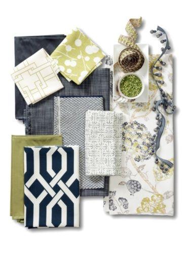 Indigo & Citron Fabric Collage (Calico Corners)