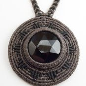 Obsidian macrame necklace. Waxed linen. Adjustable with sliding knot.