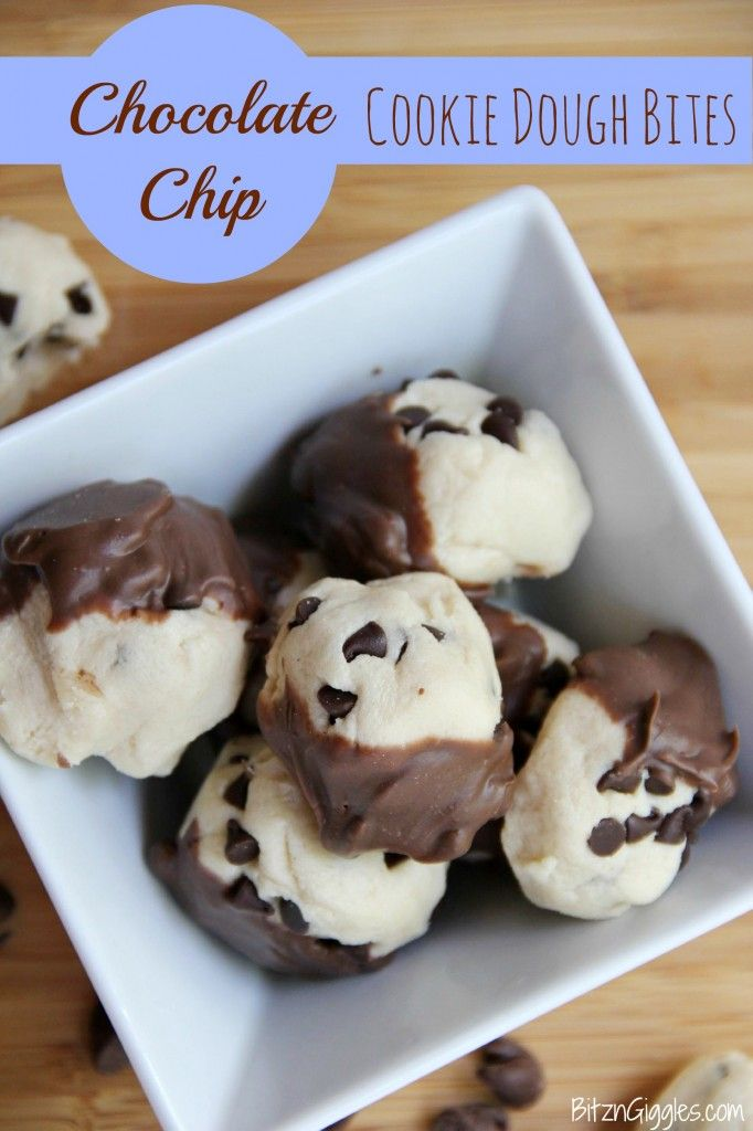 Chocolate Chip Cookie Dough Bites - Delicious, portioned bites of eggless cookie dough sprinkled with chocolate chips and dunked in chocolate at the end. Heavenly!