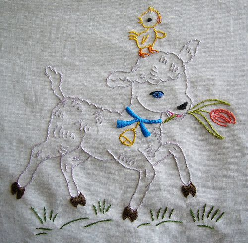 Lamb quilt square by sewclever, via Flickr