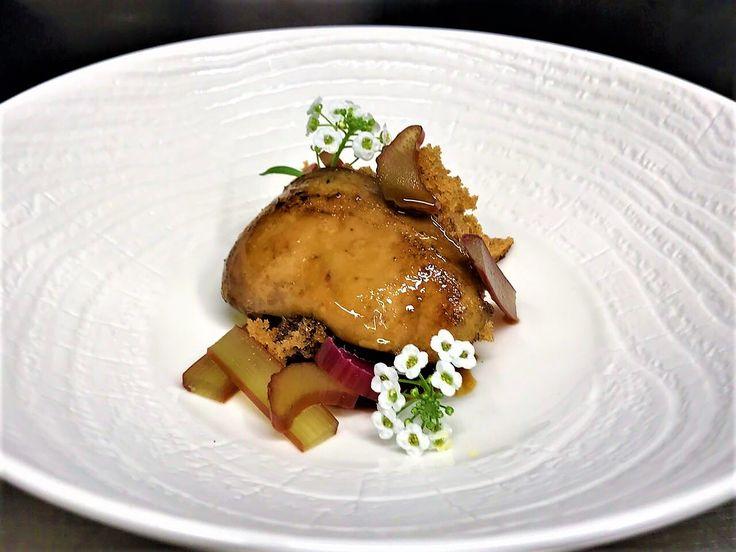 TAMAStyle Duck liver, molasses sponge cake, rhubarb