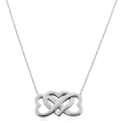 Intertwined Heart Infinity Necklace in Sterling Silver