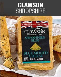 Checkers - Clawson Shropshire.  This mature and mellow cheese is the pride of Clawson Master Cheesemakers, having earned several first prizes from the British Cheese Awards. It's the perfect Shropshire with a rich orange colour and distinct blue veining with a golden crust. It's also the best cheese to pair with your favourite ale!