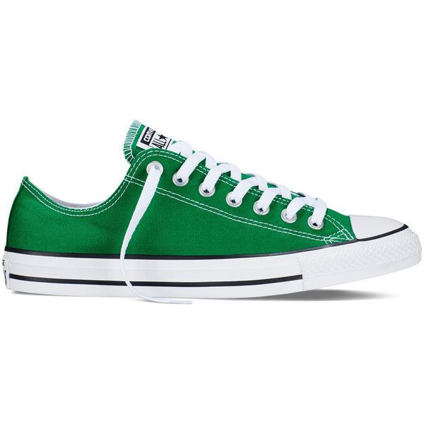 Converse Chuck Taylor All Star Fresh Colors – green Sneakers (3,320 INR) ❤ liked on Polyvore featuring shoes, sneakers, green, low top, converse trainers, star shoes, converse shoes and green shoes